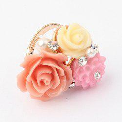 Rhinestone Decorated Colored Flower Design Ring -
