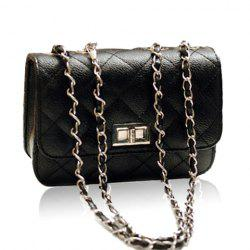 Elegant Solid Color Checked and Chains Design Women's Shoulder Bag -