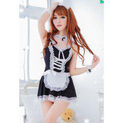 Wild Style Maidservant Uniform Lace Splicing Hem Bowknot Women 's Cosplay Costume -