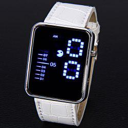 Waterproof Leather Band LED Screen Watches with Blue Light Display Square Shaped Silver Crust - White