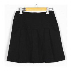 Vintage Solid Color Zip Pleated Skirt For Women -