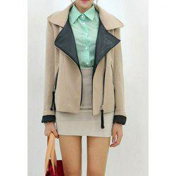 Long Sleeves Lapel Zippers PU Leather Stitching Stylish Women's Jacket -