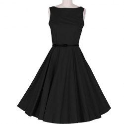 Vintage Sleeveless A Line Midi Dress - BLACK
