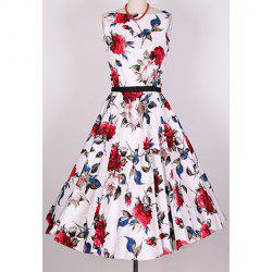 Vintage Scoop Neck Sleeveless Rose Print Pleated Dress For Women - RED
