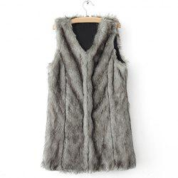 Sophisticated Style V-Neck Collar Solid Color Sleeveless Faux Fur Women's Coat -