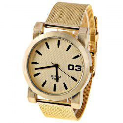 No.F5039 Men Quartz Watch 1 Arabic Numbers and Strips Indicate Round Dial Gold-plated Watchband - Red Strips -