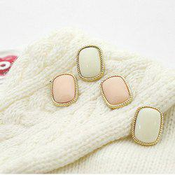 Laconic and Mix-Matched Rectangle Pattern Design Ear Pin For Female -