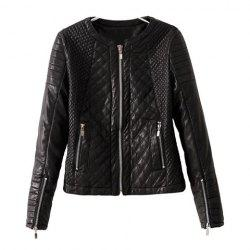 Fashionable Style Long Sleeves Solid Color Zipper Women's Faux Leather Jacket -