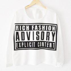 Letter Print Long Sleeves Casual Style Cotton Blend Women's T-Shirt -
