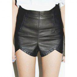 Fashion Style Slimming High Waist Wavy Hem Over Hip PU Leather Shorts For Women -