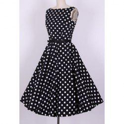 Vintage Scoop Neck Pleated Polka Dot Sleeveless Country Black Dress For Women -