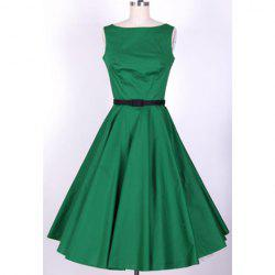 Vintage Scoop Neck Pleated Sleeveless Swing Dress For Women - GREEN