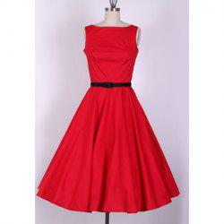 Vintage Scoop Neck Sleeveless Red Pleated Country Dress For Women -