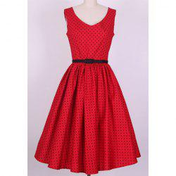 Vintage V-Neck Polka Dot Print Pleated Sleeveless Rockabilly Dress For Women -