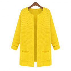 Pockets Long Sleeves Acrylic Solid Color Ladylike Style Women's Cardigan -