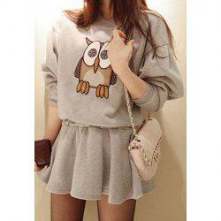 Night Owl Print Long Sleeves Cotton Blend Casual Style Women's Dress -