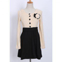 Chic Style Scoop Collar Color Matching Beam Waisted Long Sleeve Women's Dress -