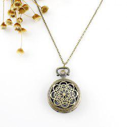 Filigree Flower Pocket Watch Pendant Necklace -