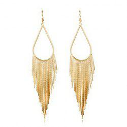 Pair of Alloy  Long Fringed TeardropDrop Earrings -