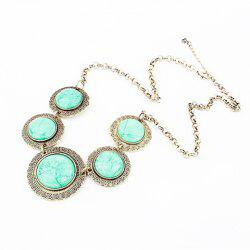 Vintage Faux Gem Embellished Round Shape Necklace