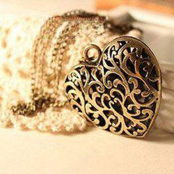 Vintage Hollow Design Heart Shaped Pendant Alloy Sweater Chain Necklace For Women -