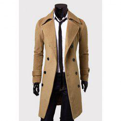 Solid Color Turndown Collar Elegant Double-Breasted Long Sleeves Woolen Trench Coat For Men - CAMEL