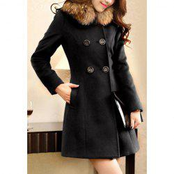 Ladylike Style Long Sleeves Worsted Double-Breasted Women's Coat -
