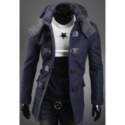 Korean Style Solid Color Hooded Slimming Long Sleeves Men's Polyester Coat -