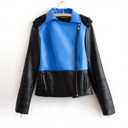 Color Block Long Sleeves Zipper PU Leather Modern Style Women's Jacket -