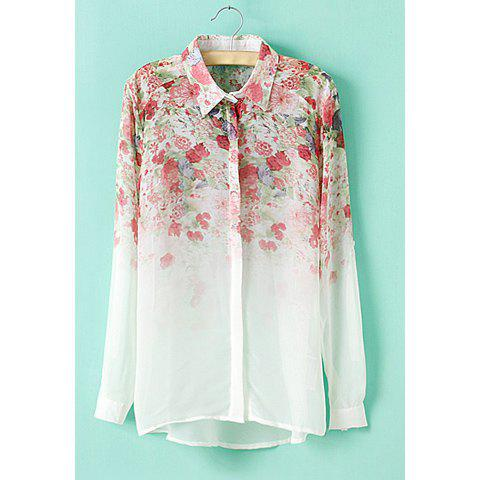 Trendy Shirt Neck Long Sleeves Floral Print Ladylike Style Chiffon Women's Shirt