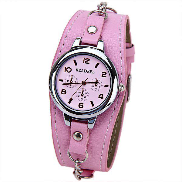 Cute Quartz Watch with Arabic Numbers Indicate Leather Watch Band for WomenJEWELRY<br><br>Color: PINK; Watches categories: Female table; Available Color: Red; Style: Fashion&amp;Casual;