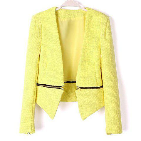 Chic Casual Style Solid Color Zipper Detachable Long Sleeve Coat For Women