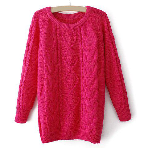 Fancy Long Sleeves Round Neck Retro Style Cable Knit Loose-Fitting Ladylike Women's Sweater