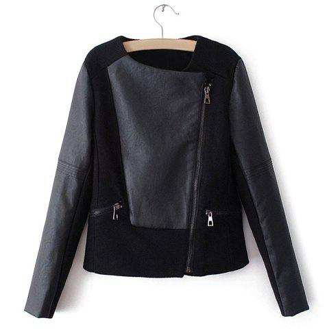 Fashion Slim Fit Long Sleeve PU Leather Splicing Black Women's Jacket