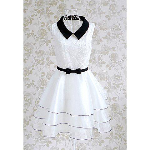 Shops Vintage Doll Collar Splicing Floral Embroidery Women's Dress With A Bow Tie