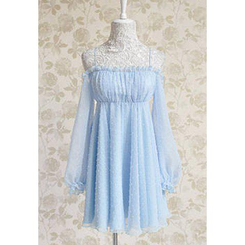 Latest Vintage Noodle Strap Ruffled Embroidery Backless Chiffon Women's Dress
