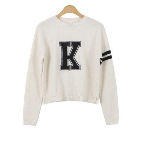 Fancy Casual Style Round Neck Letter Print Stripe Long Sleeve Sweater For Women