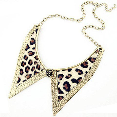 Fancy Punk Style Bow Tie Embellished Leopard Print Fake Collar Decorated Necklace For Women