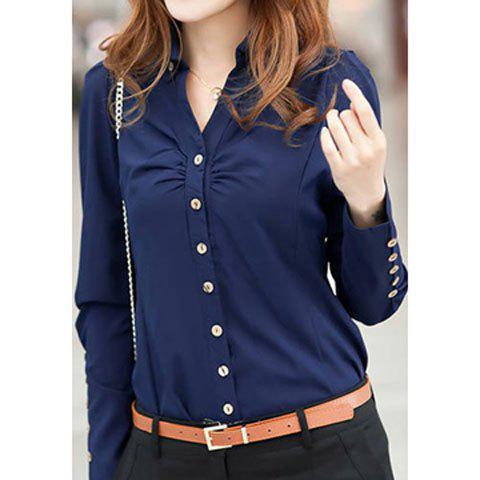 Latest Long Sleeves Buttons Embellished Shirred Casual Women's Formal Blouse