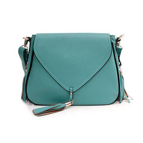 Unique Sweet Solid Color and Tassels Design Women's Crossbody Bag