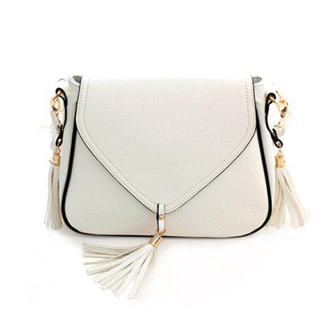 Outfits Sweet Solid Color and Tassels Design Women's Crossbody Bag