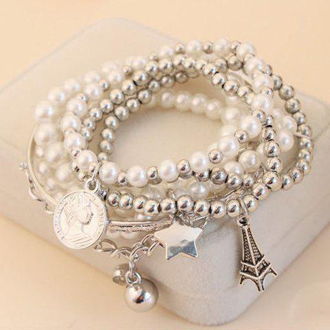 6 PCS of Faux Pearl Decorated Star Pendant Charm BraceletsJEWELRY<br><br>Color: COLOR ASSORTED; Item Type: Charm Bracelet; Gender: For Women; Chain Type: Cable-wire Chain; Material: Pearl; Metal Type: Lead-tin Alloy; Style: Trendy; Shape/Pattern: Others; Weight: 0.049kg; Package Contents: 1 x Bracelet;