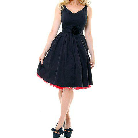 Chic Vintage V-Neck High Waist Sleeveless Black Pleated Dress For Women