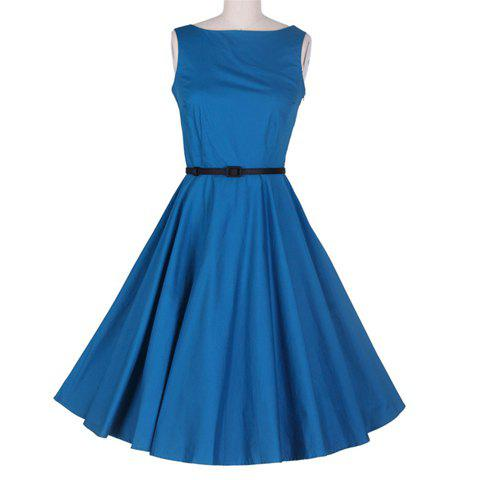 Buy Vintage Boat Neck Ruffled Sleeveless Blue Women's Dress With A Belt