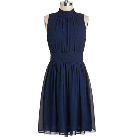 Shop Vintage Stand Collar Cut-Out Solid Color Sleeveless Chiffon Dress For Women