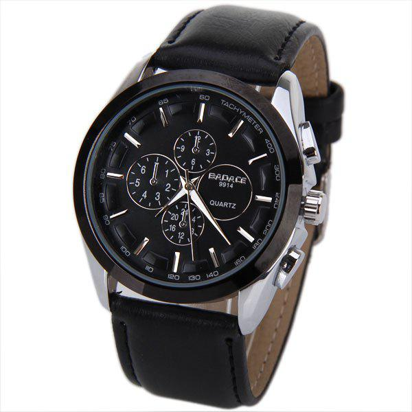 Shop No.9914 Badace Brand Men Watch Time Showed by 12 Strips with Round Black Dial Leather Watchband