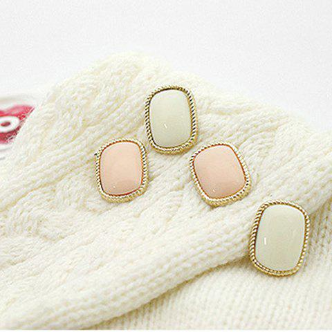 Latest Laconic and Mix-Matched Rectangle Pattern Design Ear Pin For Female
