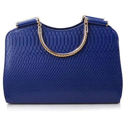 Fancy Stylish Snake Print and Solid Color Design Women's Leather Handbag