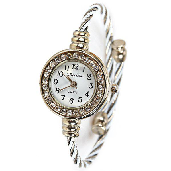 Trendy Kamelia Portable Quartz Watch with 12 Arabic Numbers Indicate Alloy Watch Band for Women - White