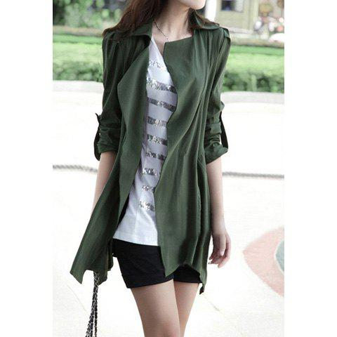 Chic Graceful Lapel Puff Sleeve Solid Color Women's Coat
